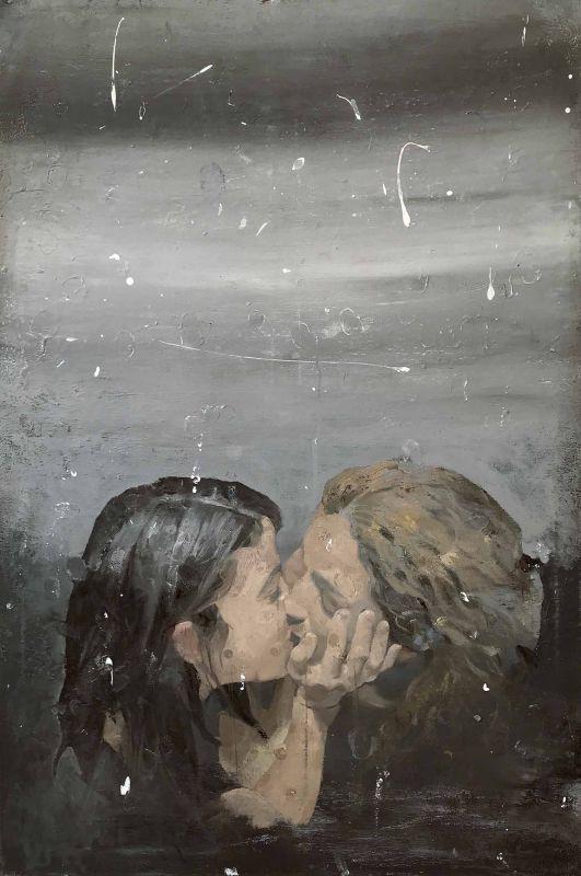 The Kiss   / 90X60 cm / Mixed media on canvas